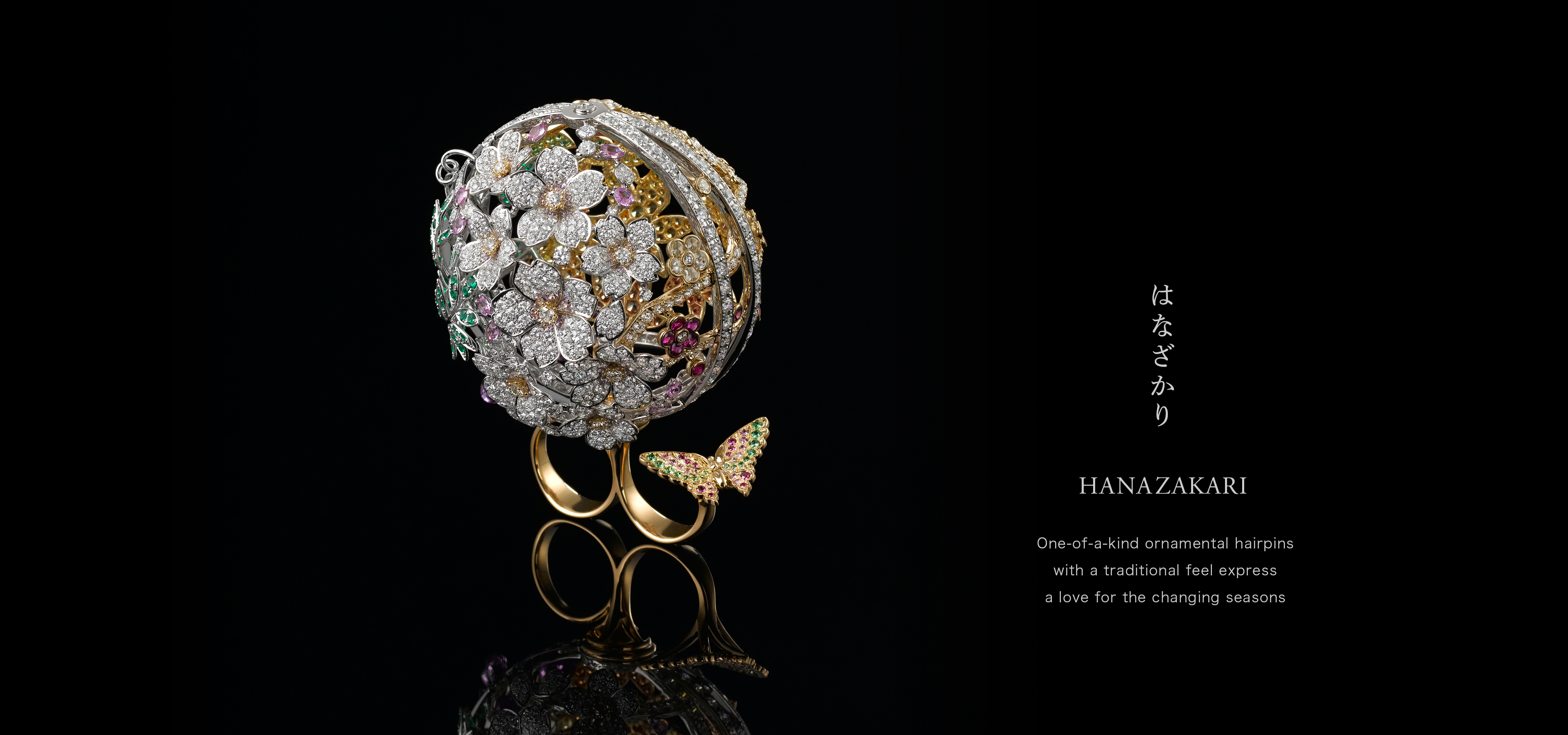 Hanazakari One-of-a-kind ornamental hairpins with a traditional feel express a love for the changing seasons